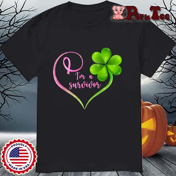 Breast cancer Irish I'm a survivor heart shirt