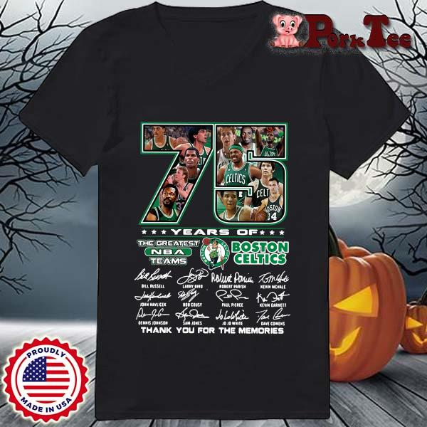 Funny 75 years of Boston Celtics the greatest NBA teams thank you for the memories signatures s Ladies Porktee den