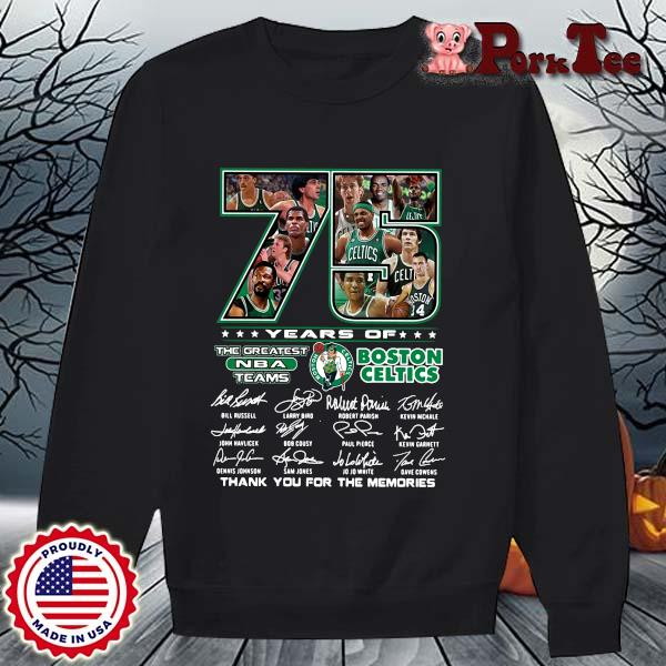 Funny 75 years of Boston Celtics the greatest NBA teams thank you for the memories signatures s Sweater Porktee den