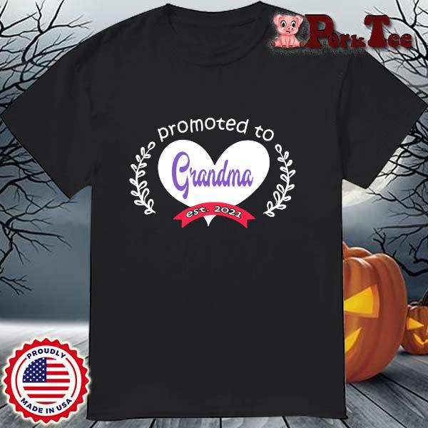 Heart promoted to grandma est 2021 shirt