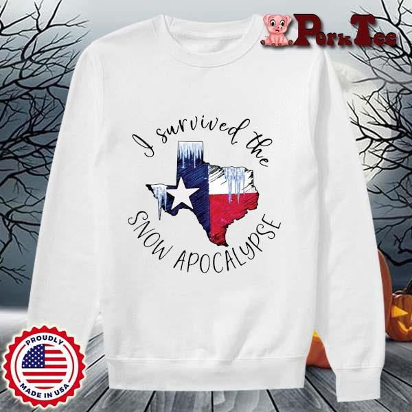 I survived the snow apocalypse Texas flag s Sweater Porktee trang