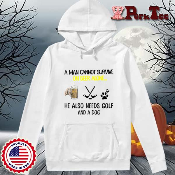A man cannot survive on beer alone he also needs hockey and a dog paw s Hoodie Porktee trang