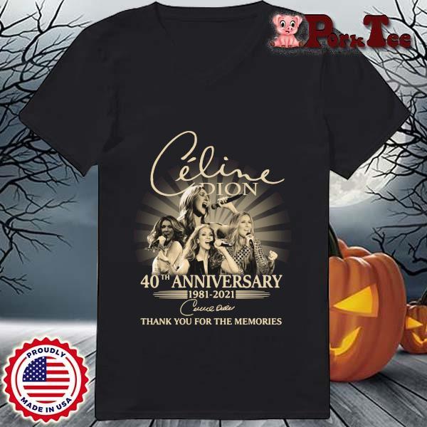 Celine Dion 40th Anniversary 1981 2021 Signature Thank You Shirt Ladies Porktee den