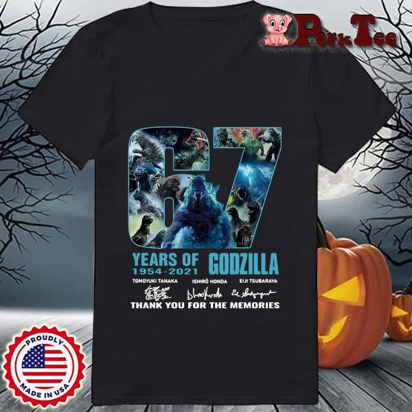 Godzilla 67 years of 1954-2021 thank you for the memories signatures s Ladies Porktee den