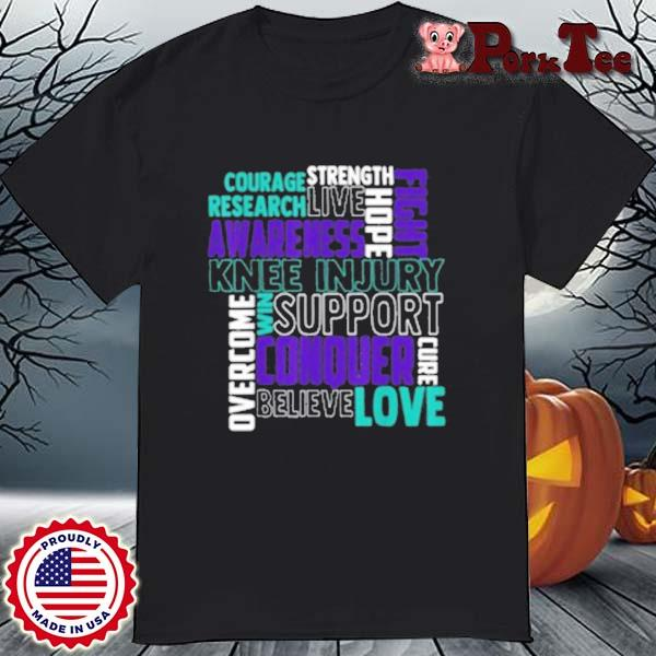 Knee Injury Awareness ACL MCL Related Teal Ribbon T-Shirt