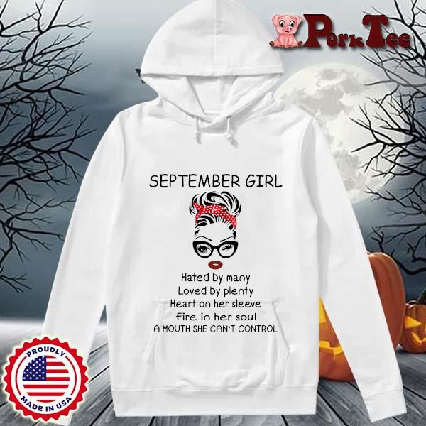 September girl hated by many loved by plenty heart on her sleeve s Hoodie Porktee trang