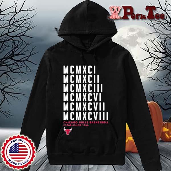 MCMXCI To MCMXCVIII Chicago Bulls Basketball Established 1966 Shirt Hoodie Porktee den