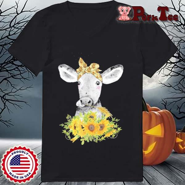 Lustige Kuh Mit Sonnenblumen Haarband Landwirtin Geschenk Shirt Ladies Porktee den