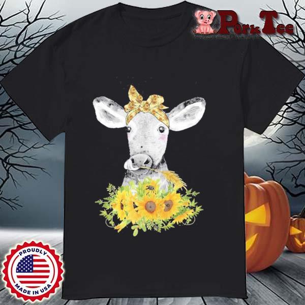 Lustige Kuh Mit Sonnenblumen Haarband Landwirtin Geschenk Shirt