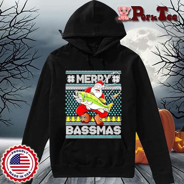 Merry Bassmas Fish Santa Christmas Sweats Hoodie Porktee den