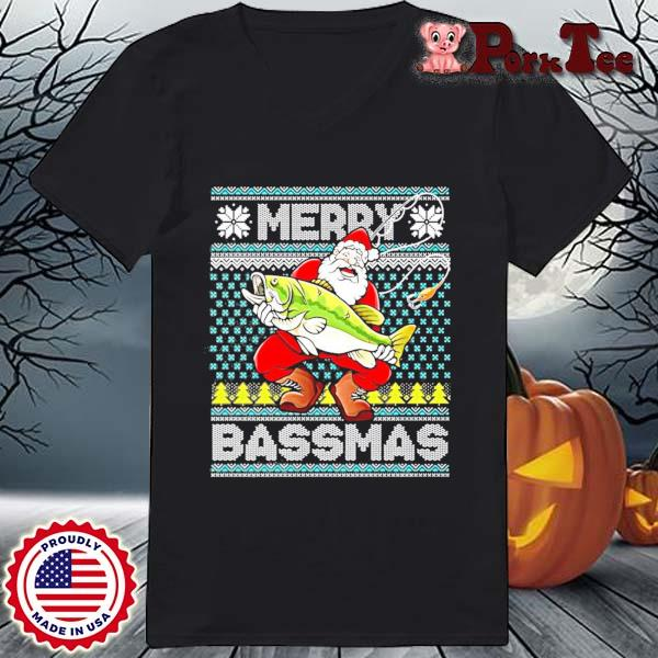 Merry Bassmas Fish Santa Christmas Sweats Ladies Porktee den