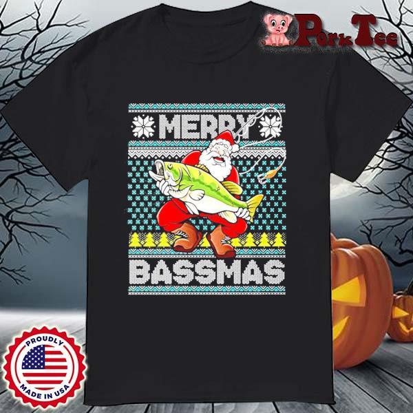 Merry Bassmas Fish Santa Christmas Sweatshirt