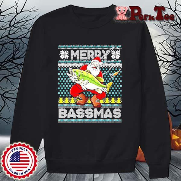 Merry Bassmas Fish Santa Christmas Sweats Sweater Porktee den