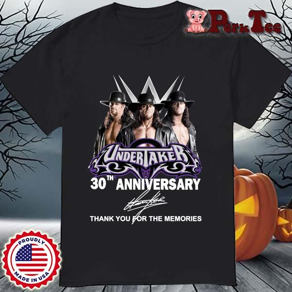 Undertaker 30th anniversary signature thank you for the memories shirt
