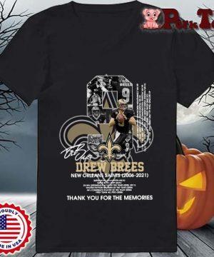 9 Drew Brees New Orleans Saints 2006-2021 thank you for the memories signatures s Ladies Porktee den